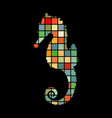 seahorse aquatic mosaic color silhouette animal vector image vector image