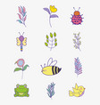 set flowers with branches leaves and insects vector image vector image