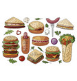set of different street food sandwiches and vector image