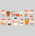 set of santa claus such as in chimney vector image vector image