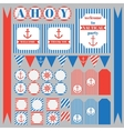 set of vintage nautical party elements vector image vector image