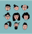 set people avatars for social media website vector image