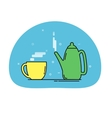 teapot and cup icon vector image