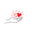 two heart in love in your hand strong family icon vector image vector image