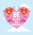 two red couple hearts be mine pink heart card vector image