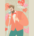 valentines day with man singing a love song vector image vector image