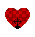 weapon sight and checkered red heart valentines vector image