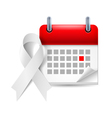 White awareness ribbon and calendar vector image vector image