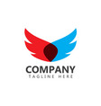 wings company logo template design vector image