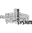 wireless burglar alarm system text word cloud vector image vector image