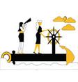 women sailing on ship anchor vector image