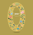 Yellow number zero with floral decor and necklace vector image