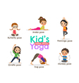 yoga kids poses cartoon vector image vector image