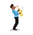 Young black man playing sax cartoon character
