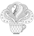 Zentangle stylized cup of tea with steam hot vector image vector image
