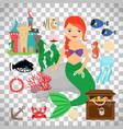cute mermaid with marine life vector image