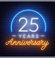 25th anniversary celebration neon sign on a dark
