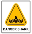 a danger signal icon with a shark vector image vector image