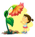 A young girl below the giant flower vector image vector image