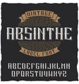 absinthe label font and sample label design vector image vector image