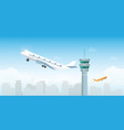 airplane taking off from airport with control vector image vector image