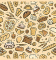 Bakery seamless pattern sketch background for
