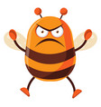 bee is angry on white background vector image vector image