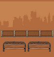 benches with wrought-iron decorations vector image