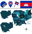 Cambodia map with named divisions vector image vector image
