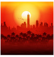 City and palm trees at sunset retro poster