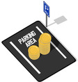 Coins on Parking Lot vector image vector image