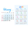 colorful planner 2019 february separately vector image vector image