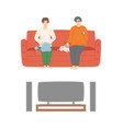 couple watching films at home cinema center set vector image vector image