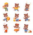 cute cartoon bears set bear animal ice vector image vector image