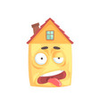 cute stressed house cartoon character funny vector image vector image