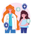 female doctor and girl patient with band aid in vector image