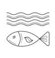 fish under sea wave line icon vector image