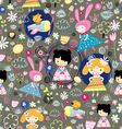 floral pattern with girls vector image vector image