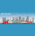 fort worth skyline with gray buildings and blue vector image vector image