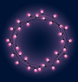 garland frame with pink glowing lamps decorative vector image vector image