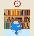 girl cartoon reading a book in library vector image
