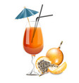 granadilla fruit cocktail realistic summer vector image vector image