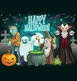 halloween ghost pumpkin zombie and dracula vector image vector image