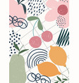 hand drawn contemporary fruits flowers trendy vector image vector image