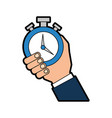 hand human with chronometer watch isolated icon vector image vector image