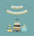 happy birthday decor banner with cake and presents vector image vector image