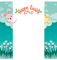 Happy Easter Lettering And Animal On Frame vector image
