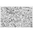 hunting shop doodle set vector image vector image