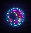 jazz music is a neon style logo neon sign symbol vector image