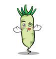 kissing white radish cartoon character vector image vector image